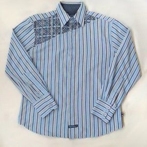 English Laundry Blue and Yellow Embroidered Shirt